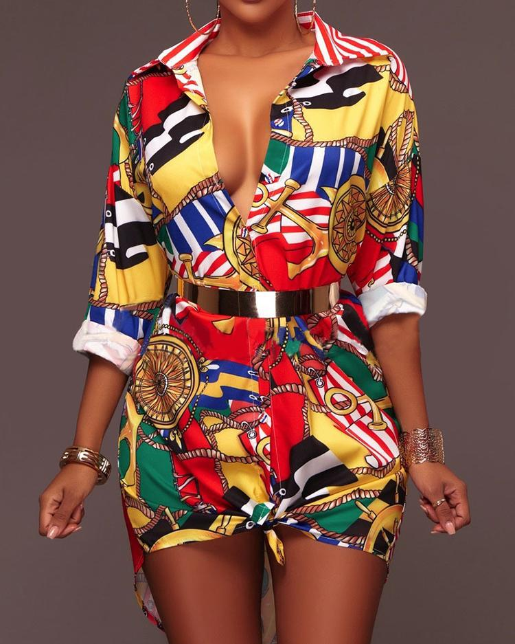 Multicolor Print Casual Shirt Dress - Multicolor