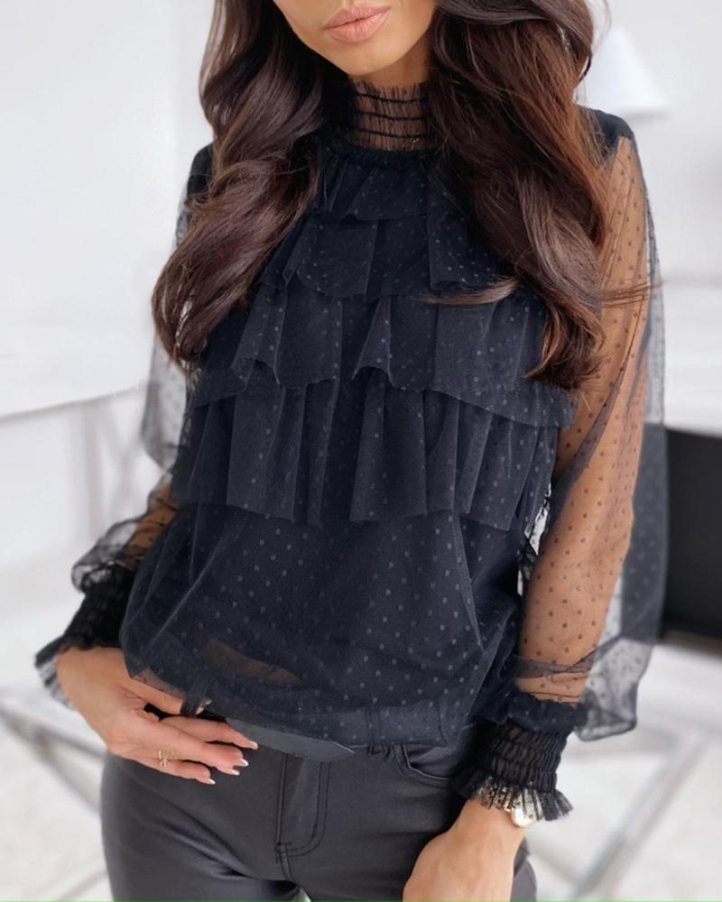 Sheer Mesh Dot Ruffled Casual Blouse фото