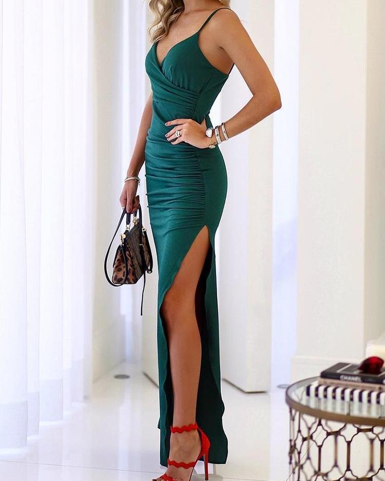 joyshoetique / Spaghetti Strap Scrunch Thigh Split Evening Dress