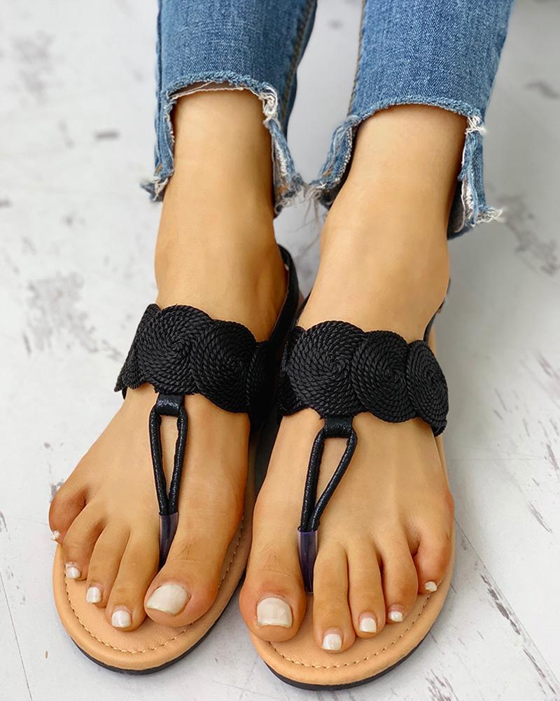 Toe Post Boho Style Flat Sandals