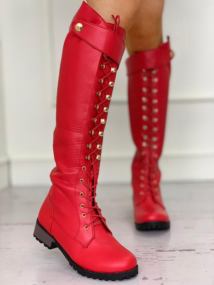 Eyelet Lace-Up Chunky Heeled PU Boots