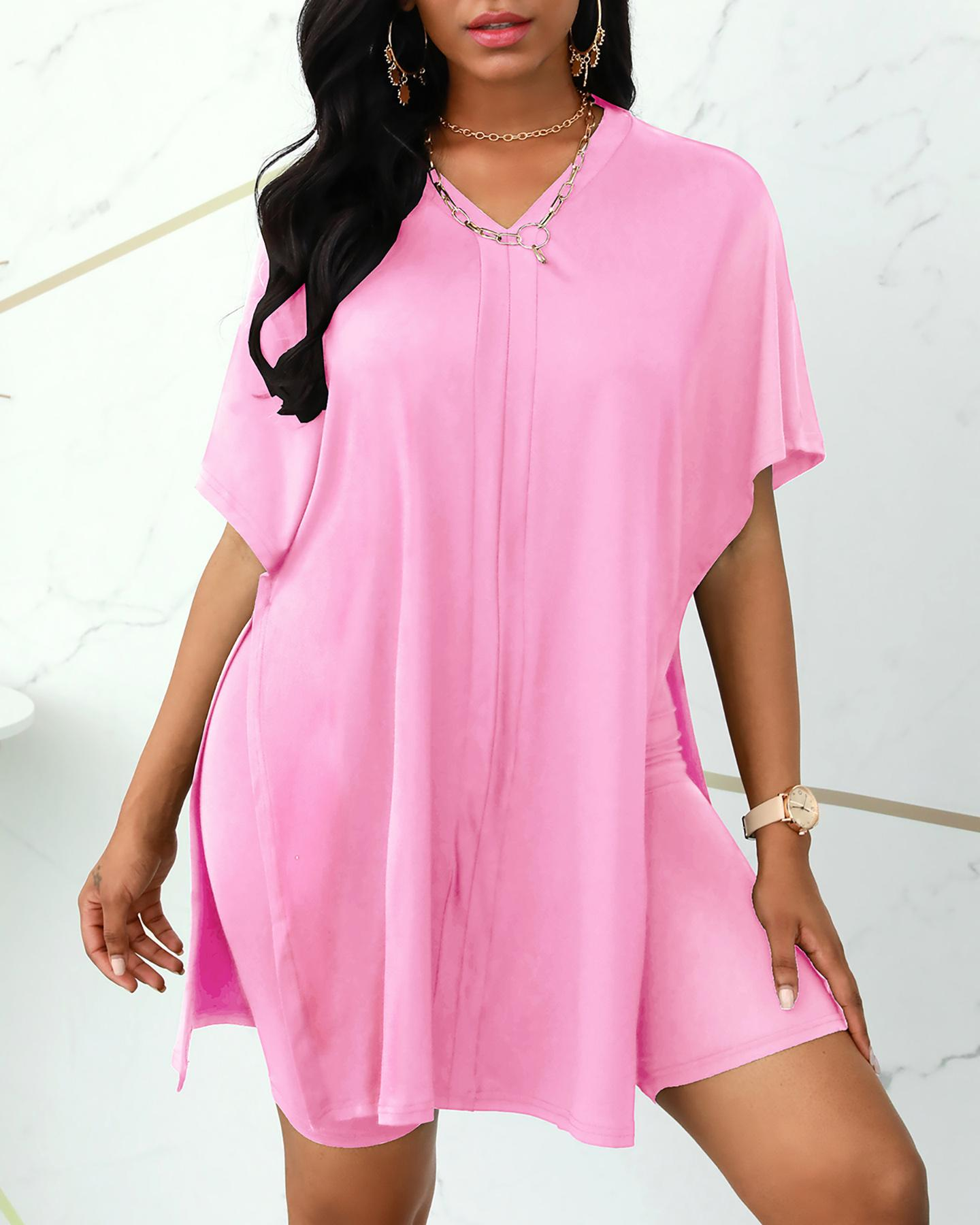 Batwing Sleeve Slit Top & High Waist Shorts Set фото