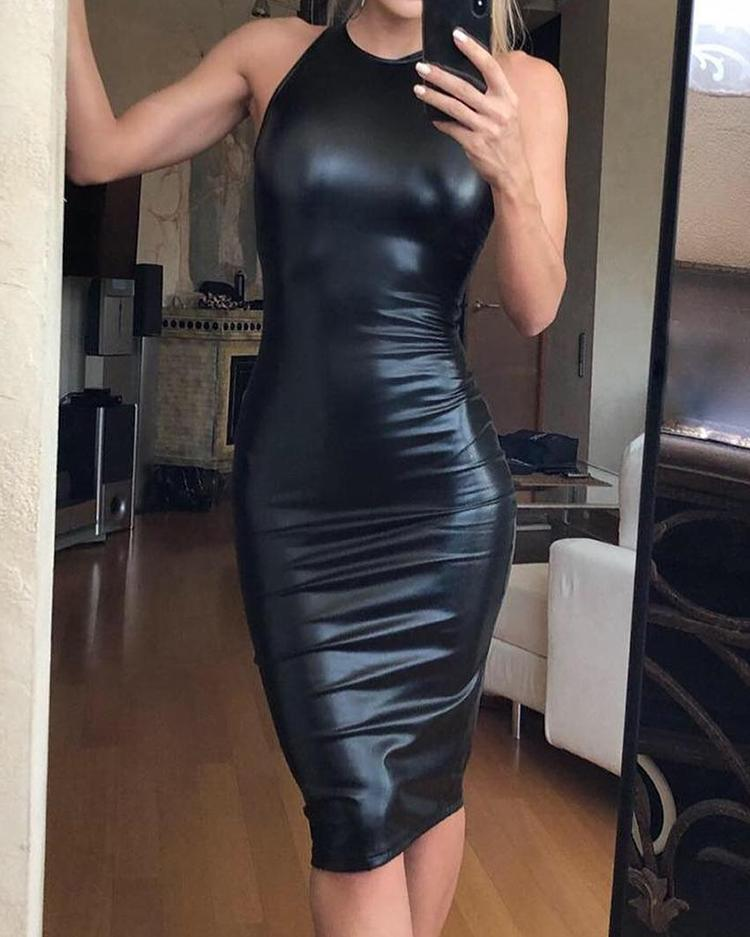 ivrose / Vestido ajustado sin mangas de PU