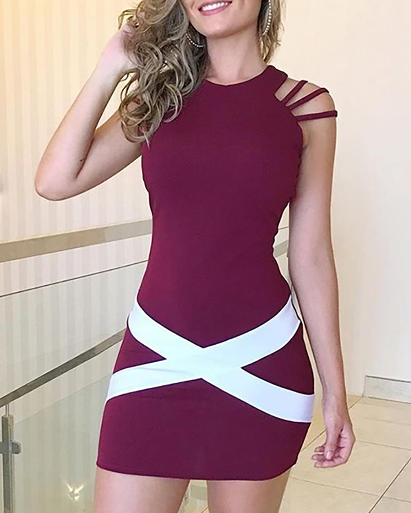 Colorblock Bandage Crisscross Bodycon Dress