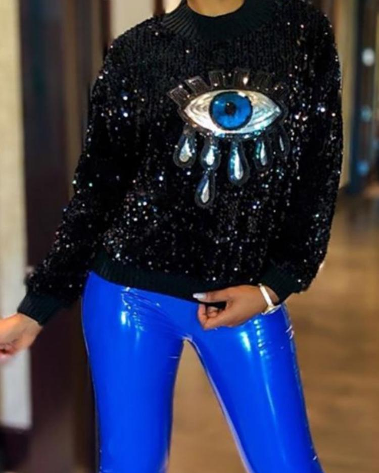 Eye Pattern Sequin Long Sleeve Sweatshirt