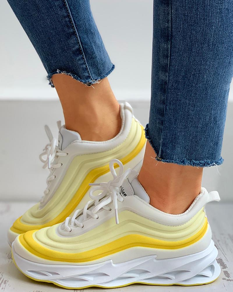 Colorblock Lace-up Muffin Breathable Sneakers фото