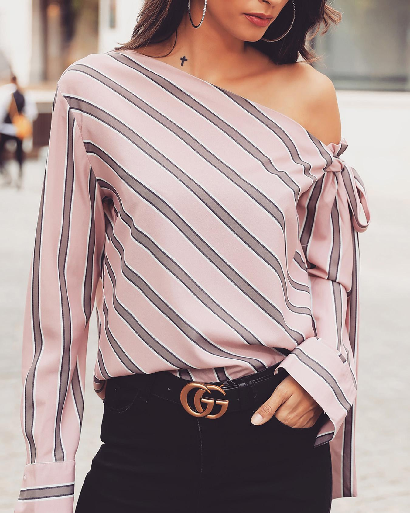 Stripes Skew Neck Knotted Sleeve Blouse фото