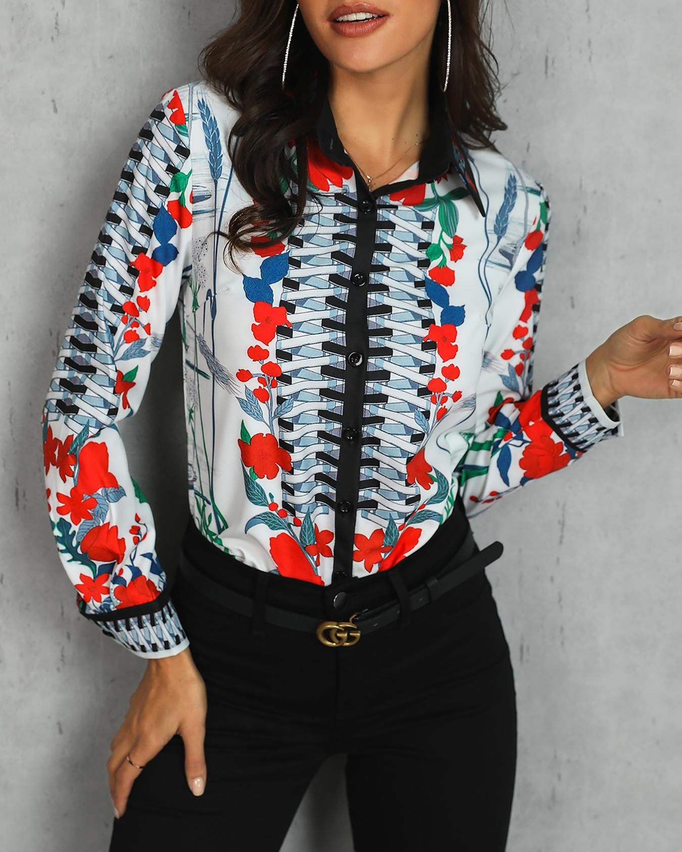 Long Sleeve Mixed Floral Print Casual Blouse