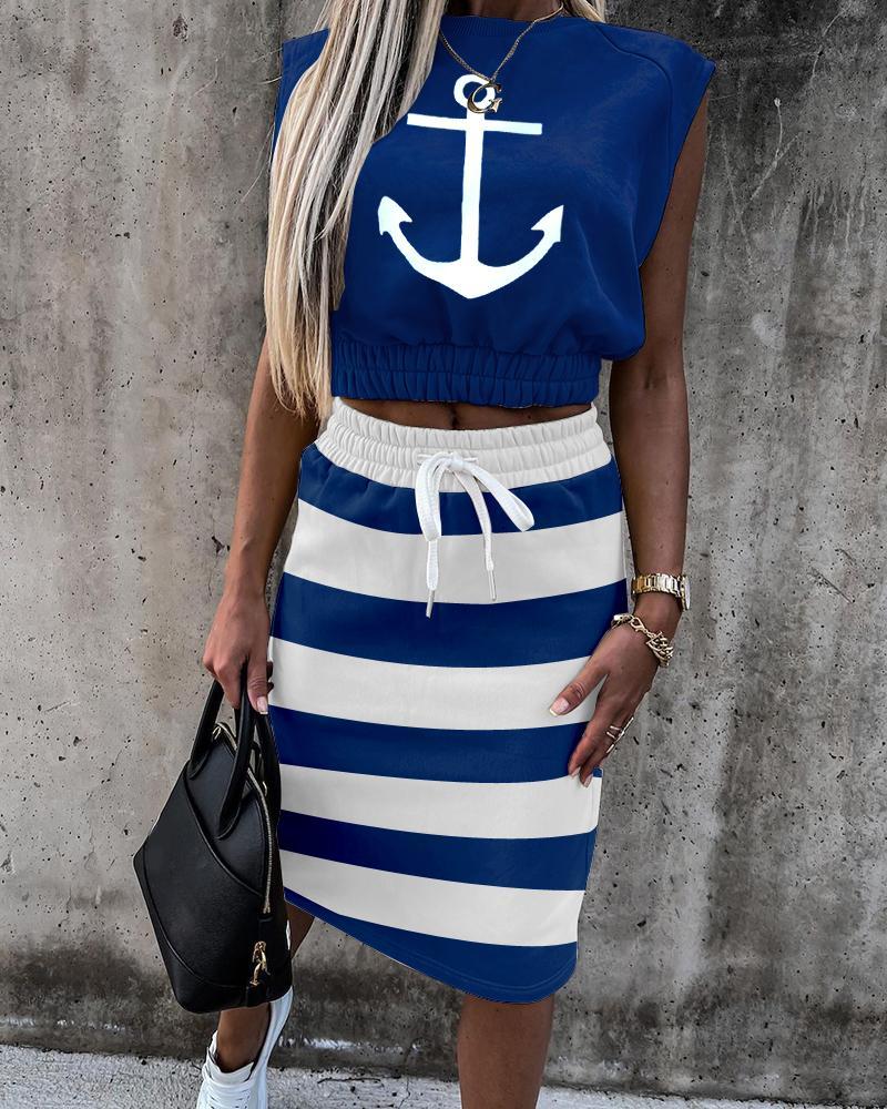 Image of Anchor Striped Short Sleeve Top & Drawstring Skirt Set