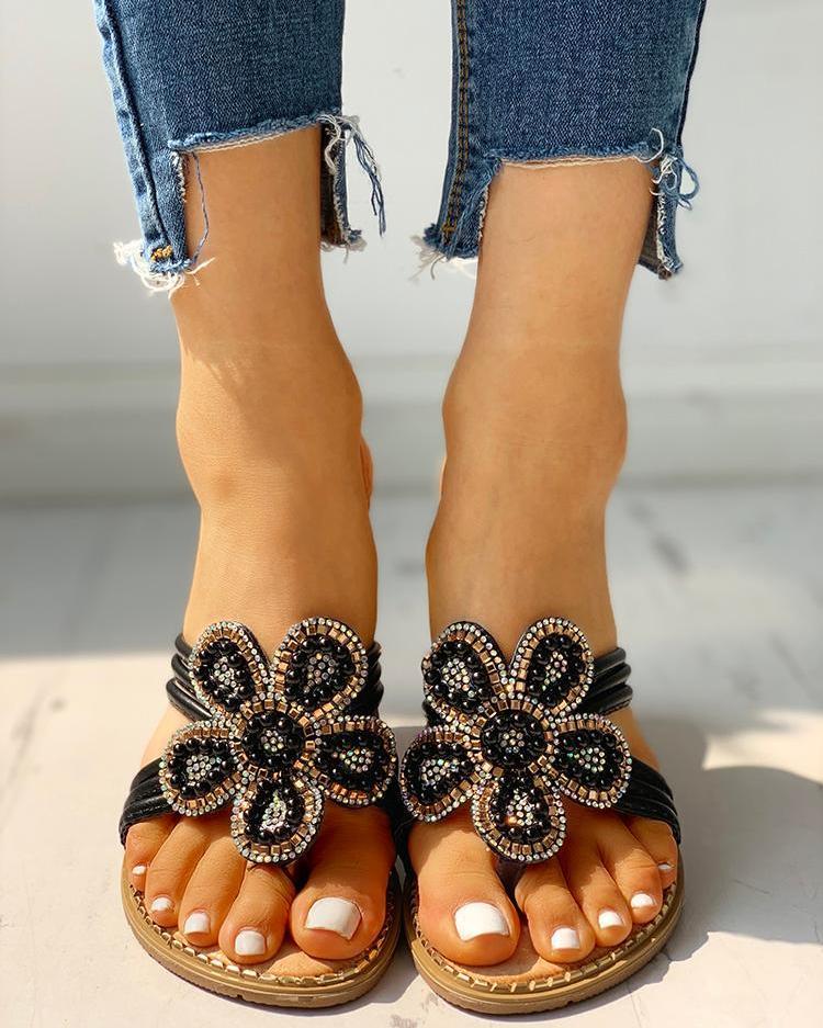 Flower Pattern Beaded Design Toe Post Sandals