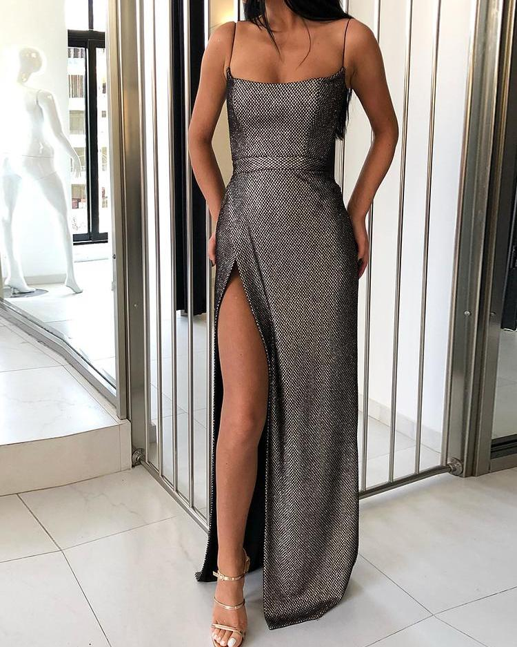 joyshoetique / Shiny Spaghetti Strap High Slit Evening Dress
