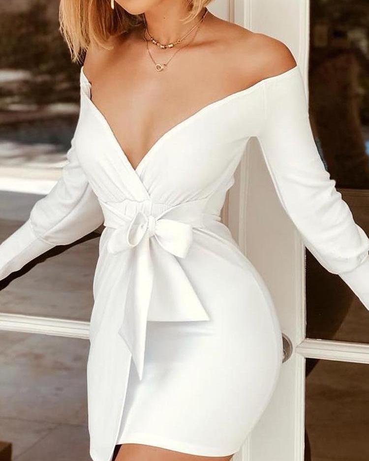 Off Shoulder Long Sleeve Tied Waist Dress