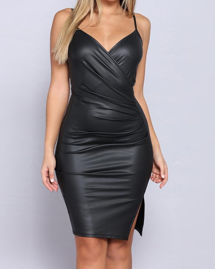 Spaghetti Stap Wrap Ruched Side Slit PU Dress