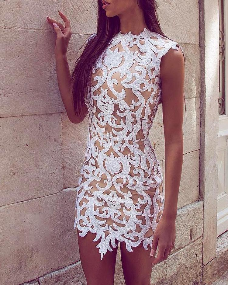 Lace Applique Sleeveless Bodycon Dress