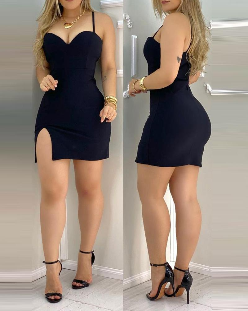 joyshoetique / Plain Side Slit Cami Bodycon Dress