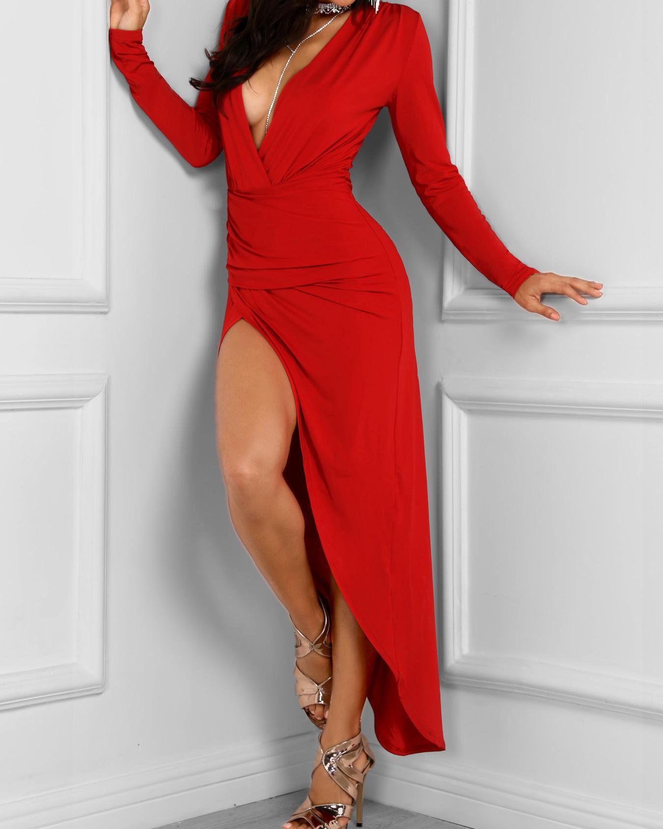 ivrose / Vestido de fiesta irregular de manga larga con pliegues irregulares