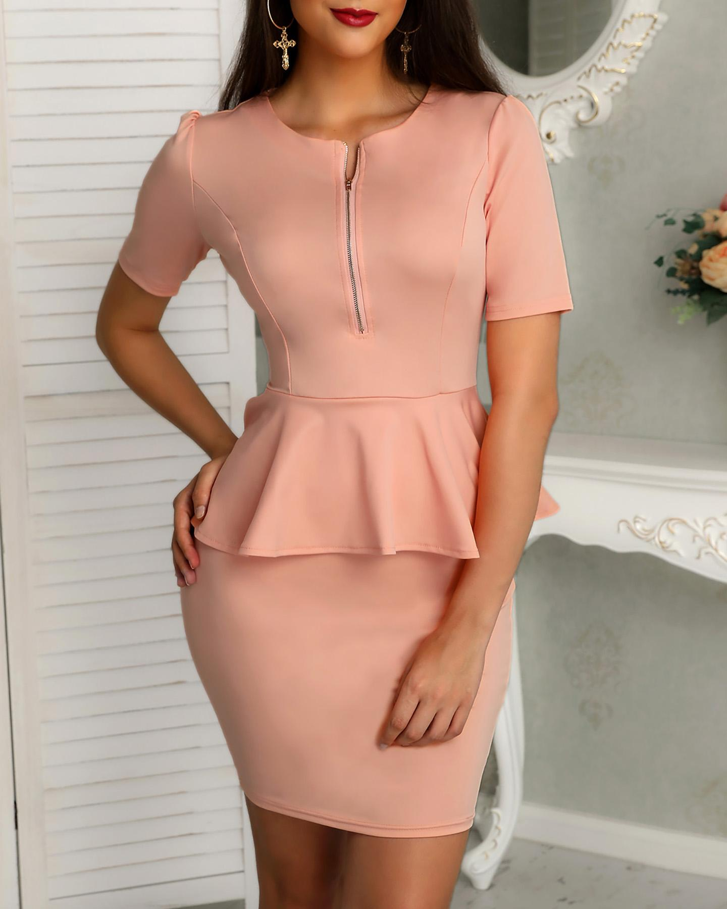 Solid Zipper Up Front Peplum Bodycon Dress фото