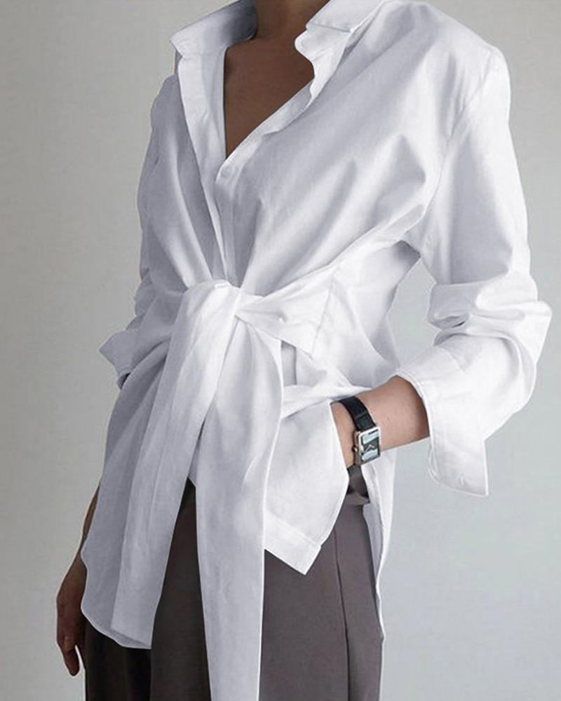 Long Sleeve Tie Front Shirt фото