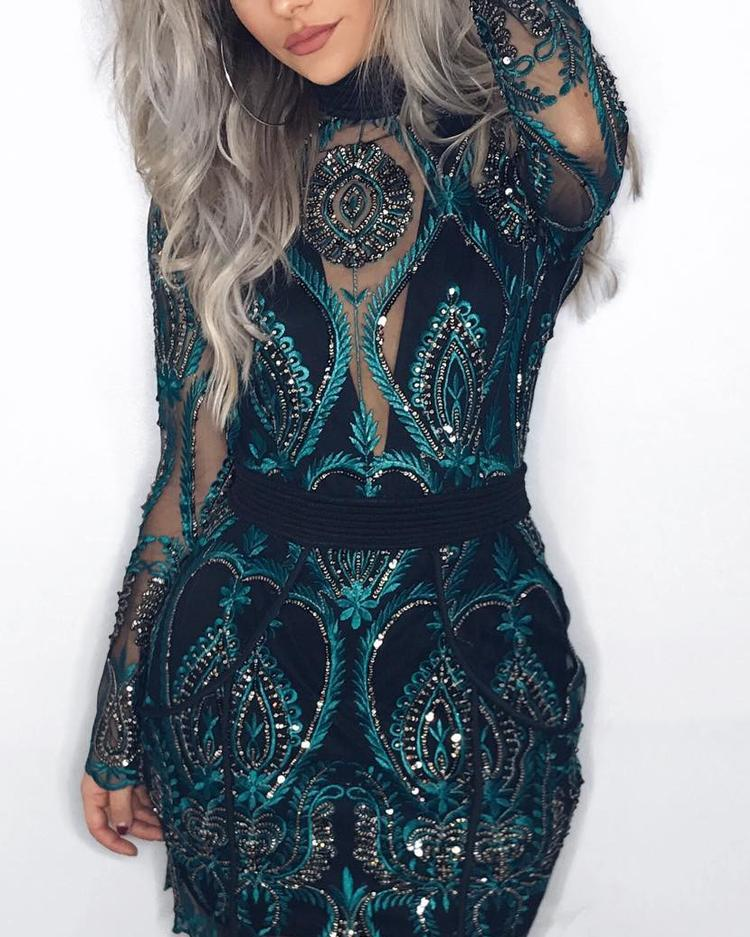 Sheer Mesh Lace Insert Party Dress фото