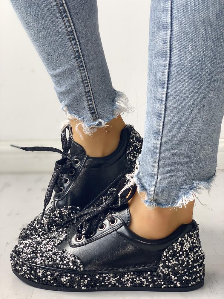Sequins Embellished Lace-Up Sneakers
