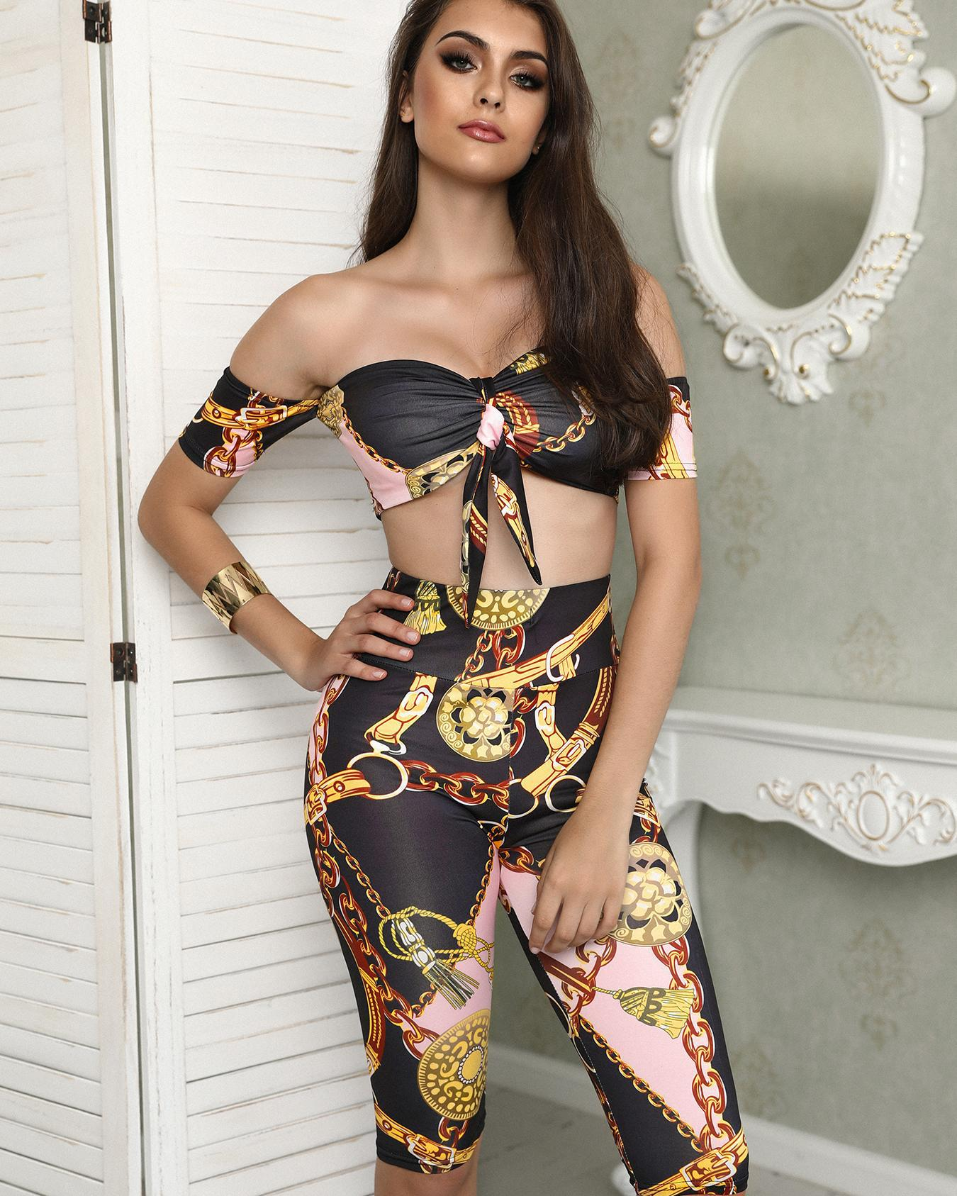 Chains Print Tie Tube Cropped Top&Shorts Set фото