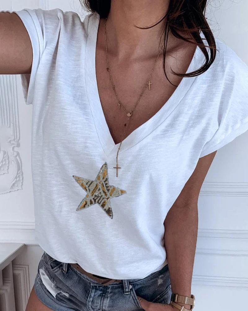 Star Pattern Sequins V-neck T-shirt фото