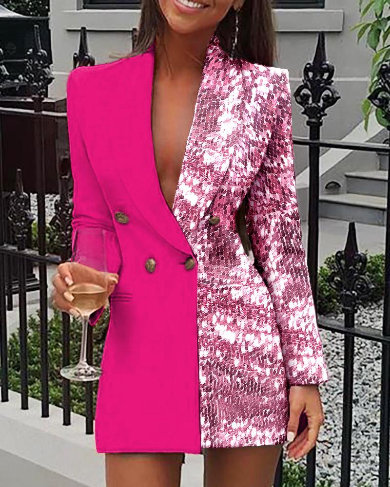 boutiquefeel / Vestido Blazer Double Breasted Lantejoulas Colorblock