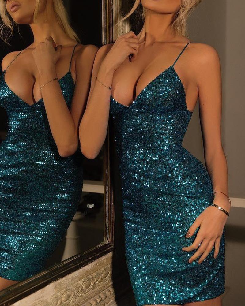 Deep V Sequined Slip Dress фото