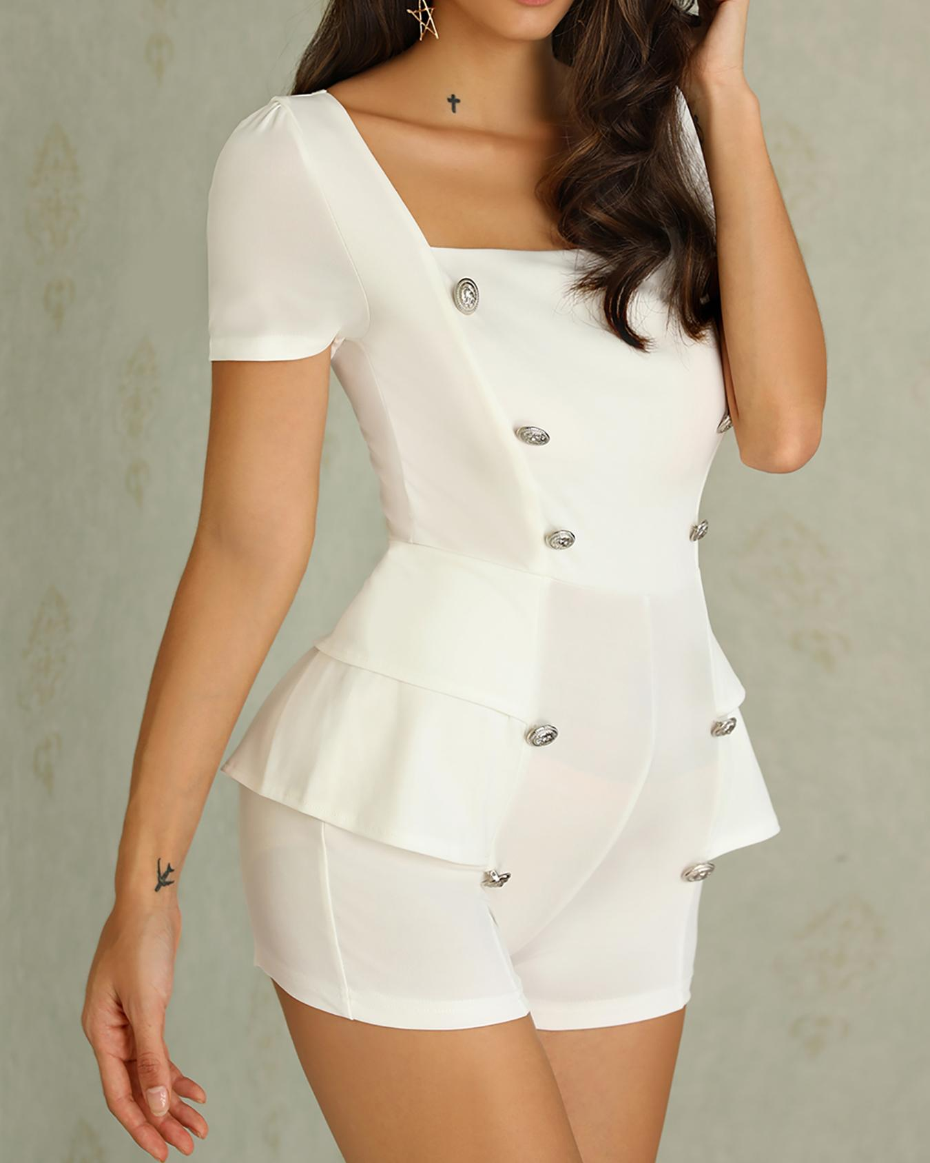 Double-Breasted Short Sleeve White Romper