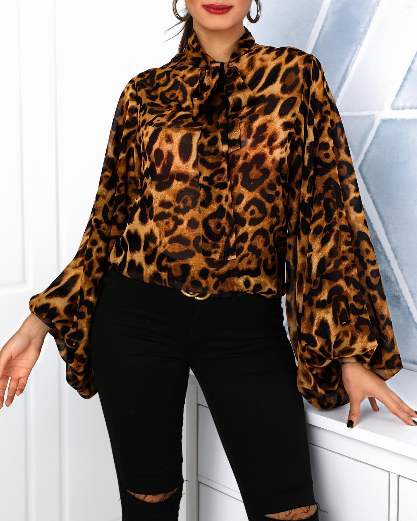 Blouse à manches lanternes et à imprimé léopard