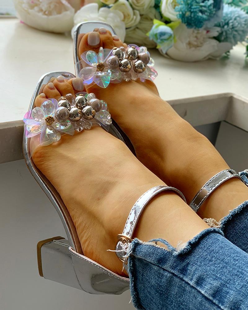 boutiquefeel / Correia de tornozelo frisada Sandálias de salto alto
