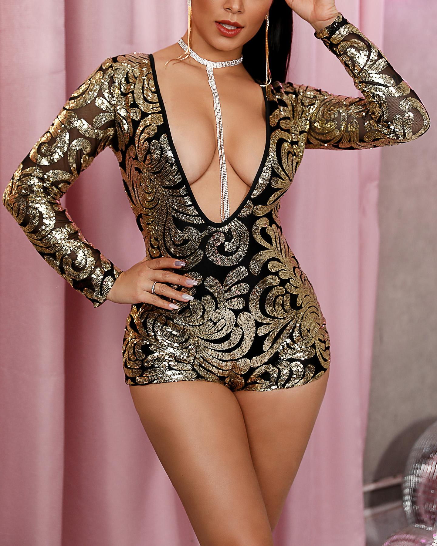 Long Sleeve Plunge Sequin Romper фото