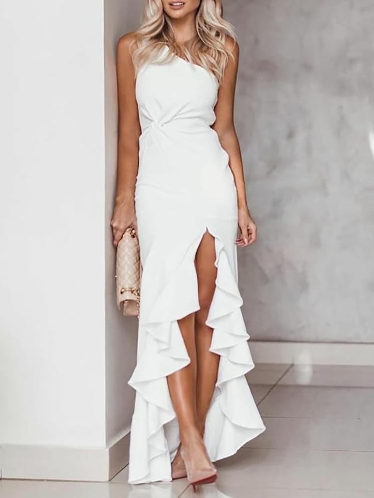 One Shoulder Twisted Ruffles Slit Hem Dress