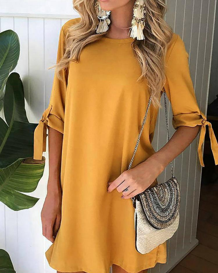 Trendy Solid Tied Sleeve Casual Tunic Dress фото