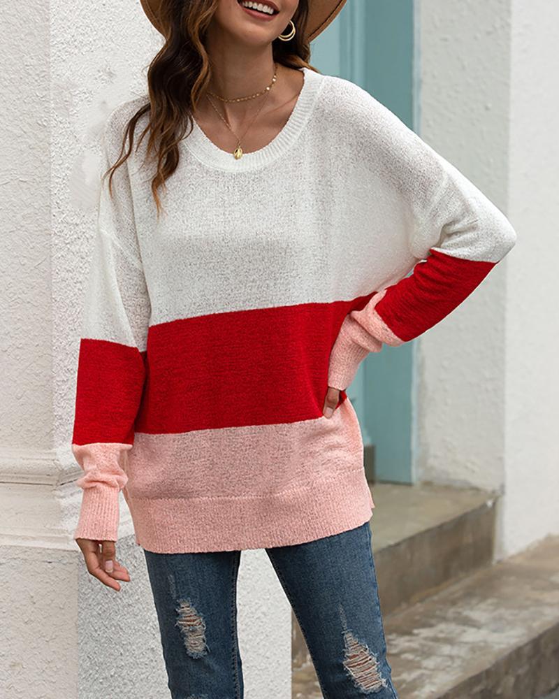 Colorblock Long Sleeve Casual Sweater фото