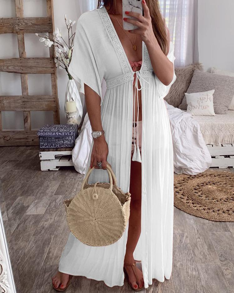 Crochet Lace Insert Long Cover Up