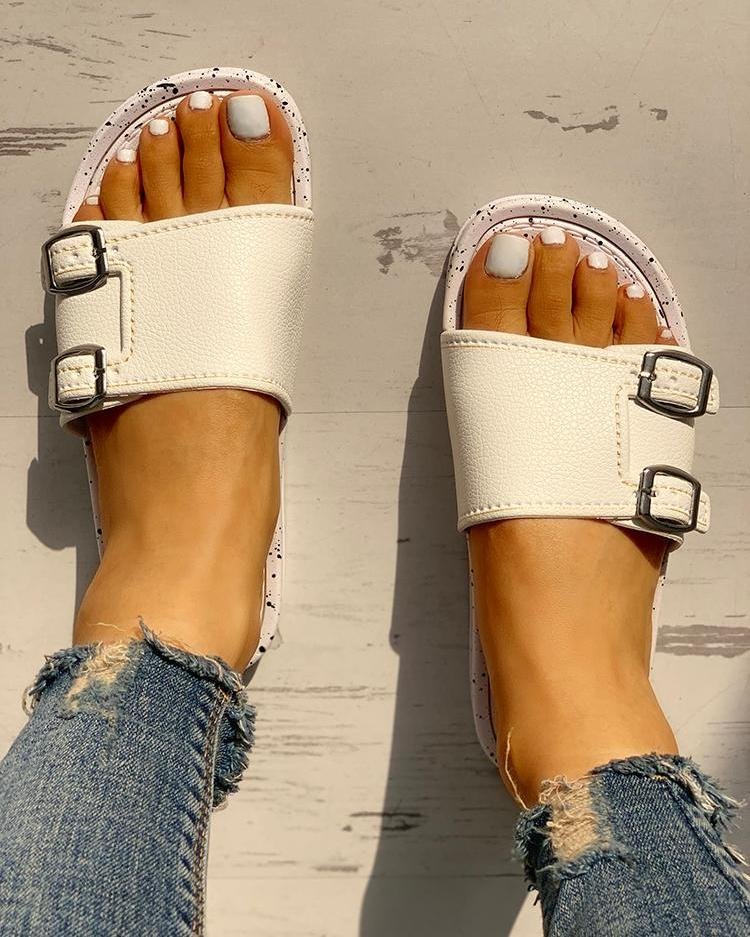 Buckle Single Strap Open Toe Flat Sandals, White