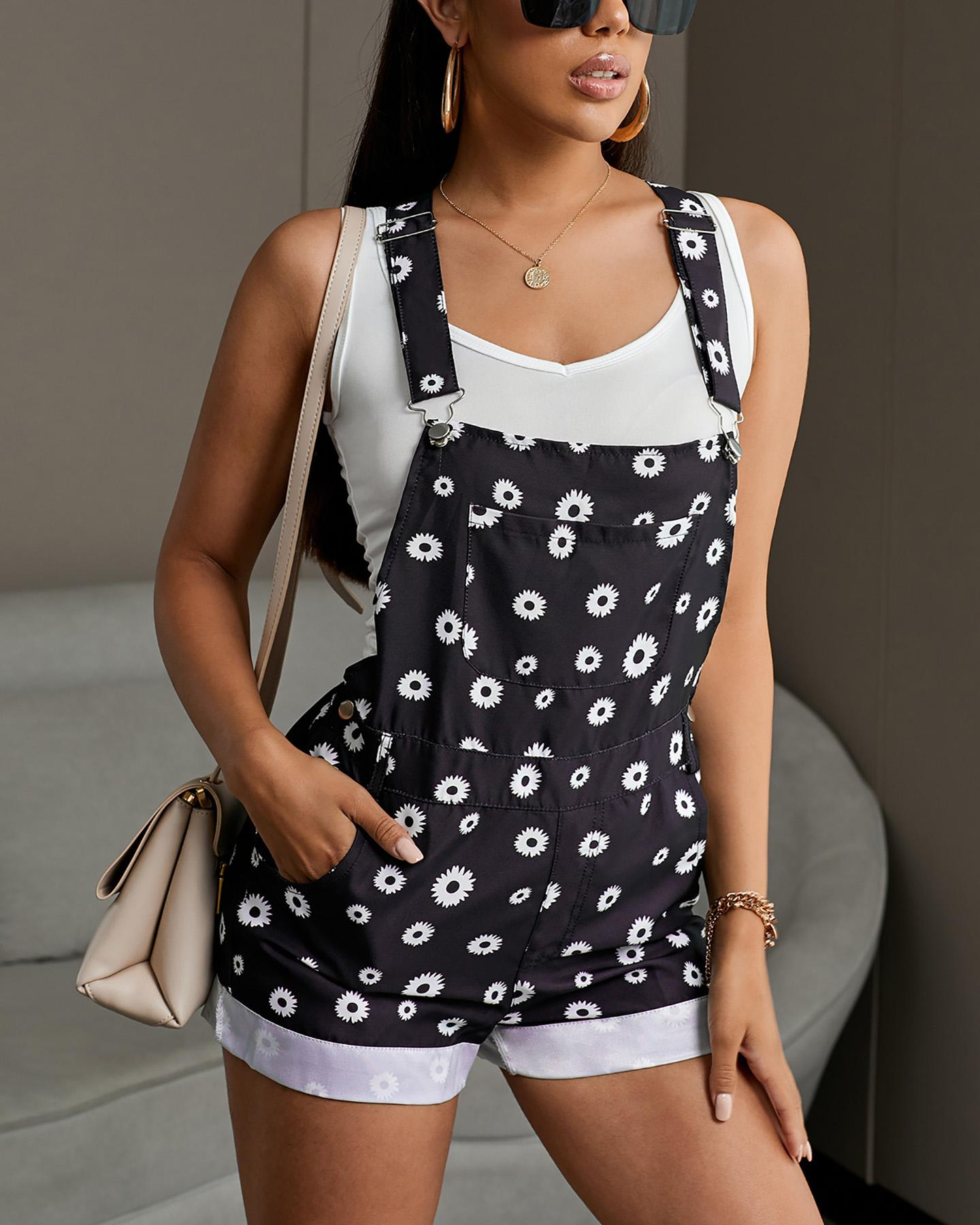 Floral Print Thick Strap Suspender Shorts фото