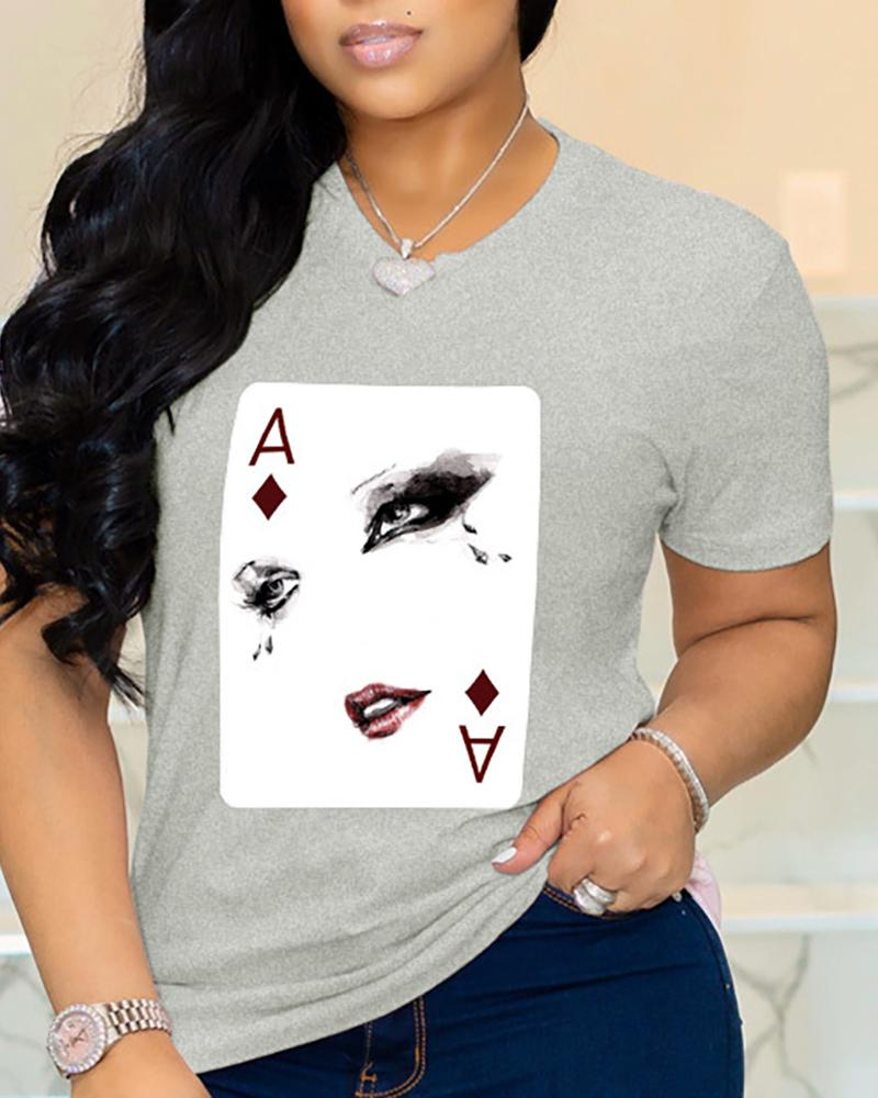 Poker Figure Print Short Sleeve Casual T-shirt фото