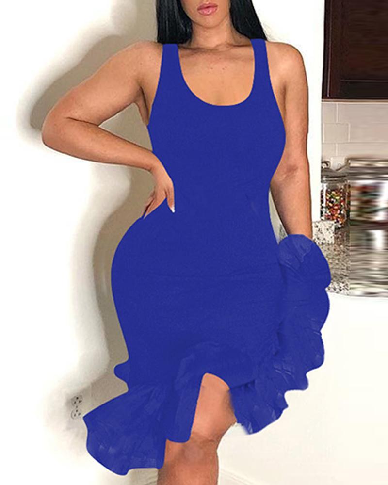 U-Neck Irregular Mesh Hem Bodycon Dress