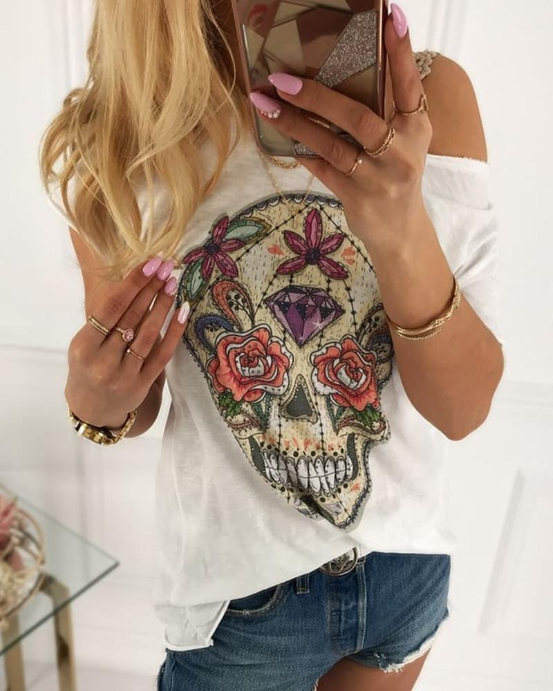 Skull Print Short Sleeve Casual T-shirt