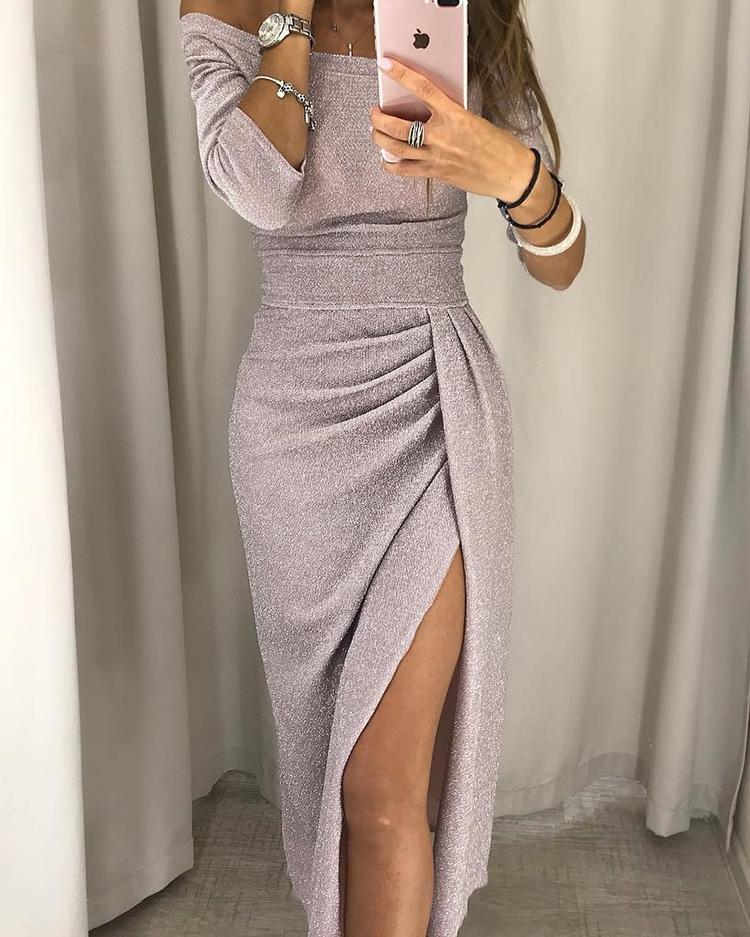 Image of Glitter Ruched Thigh Slit Party Dress