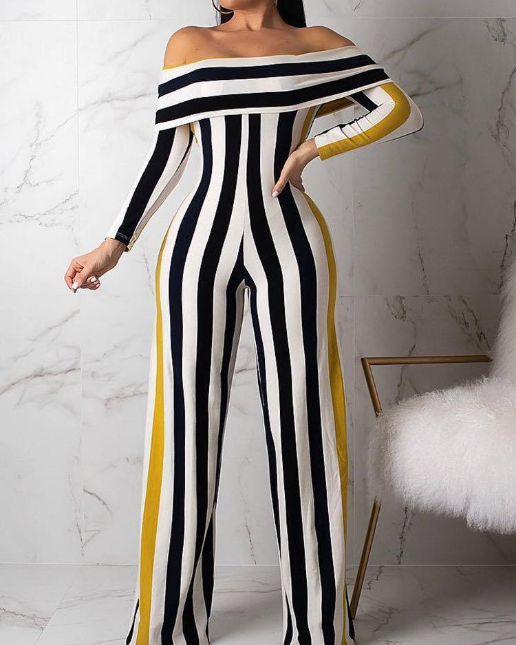 Contrast Stripes Fold-Over Wide Leg Jumpsuit