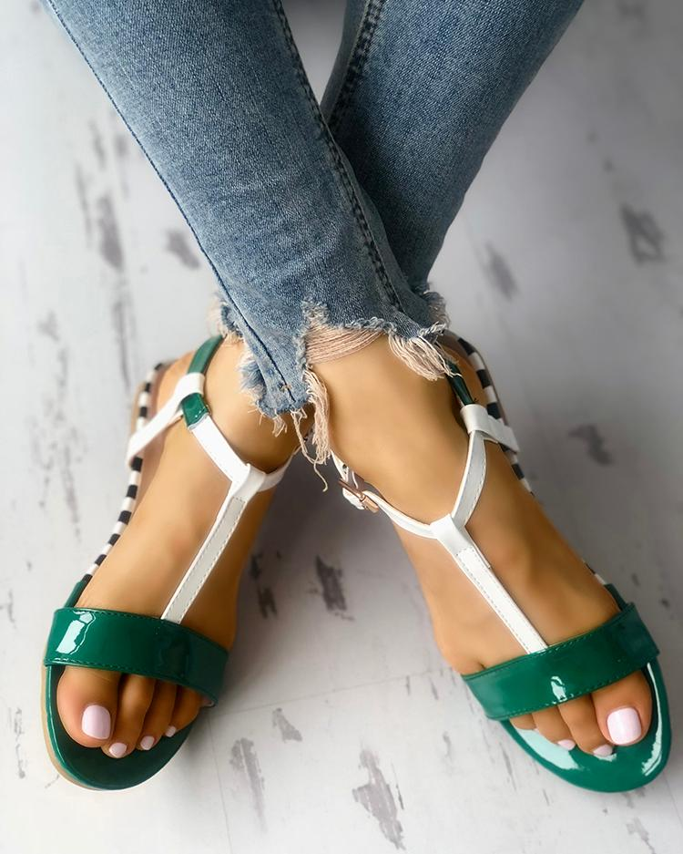 Contrast Color Strappy Splicing Buckled Flat Sandals