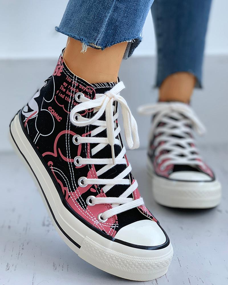 Cartoon Print Lace-Up Casual Sneakers фото