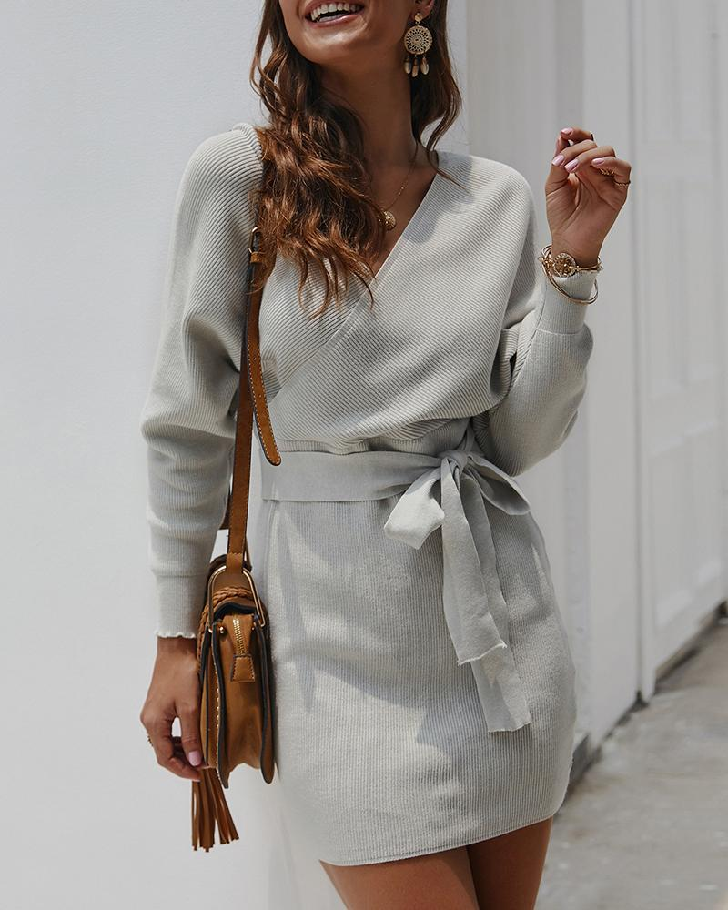 Knotted Cutout Knit Long Sleeve Dress фото