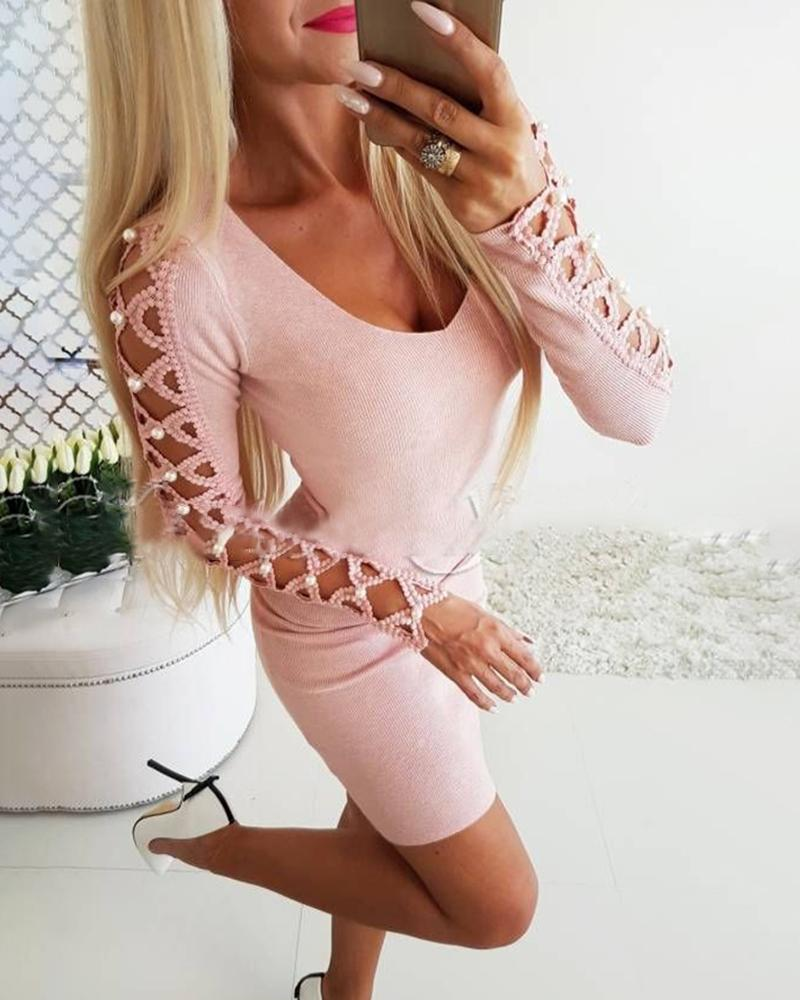 Beaded Lace-Up Long Sleeve Bodycon Dress фото