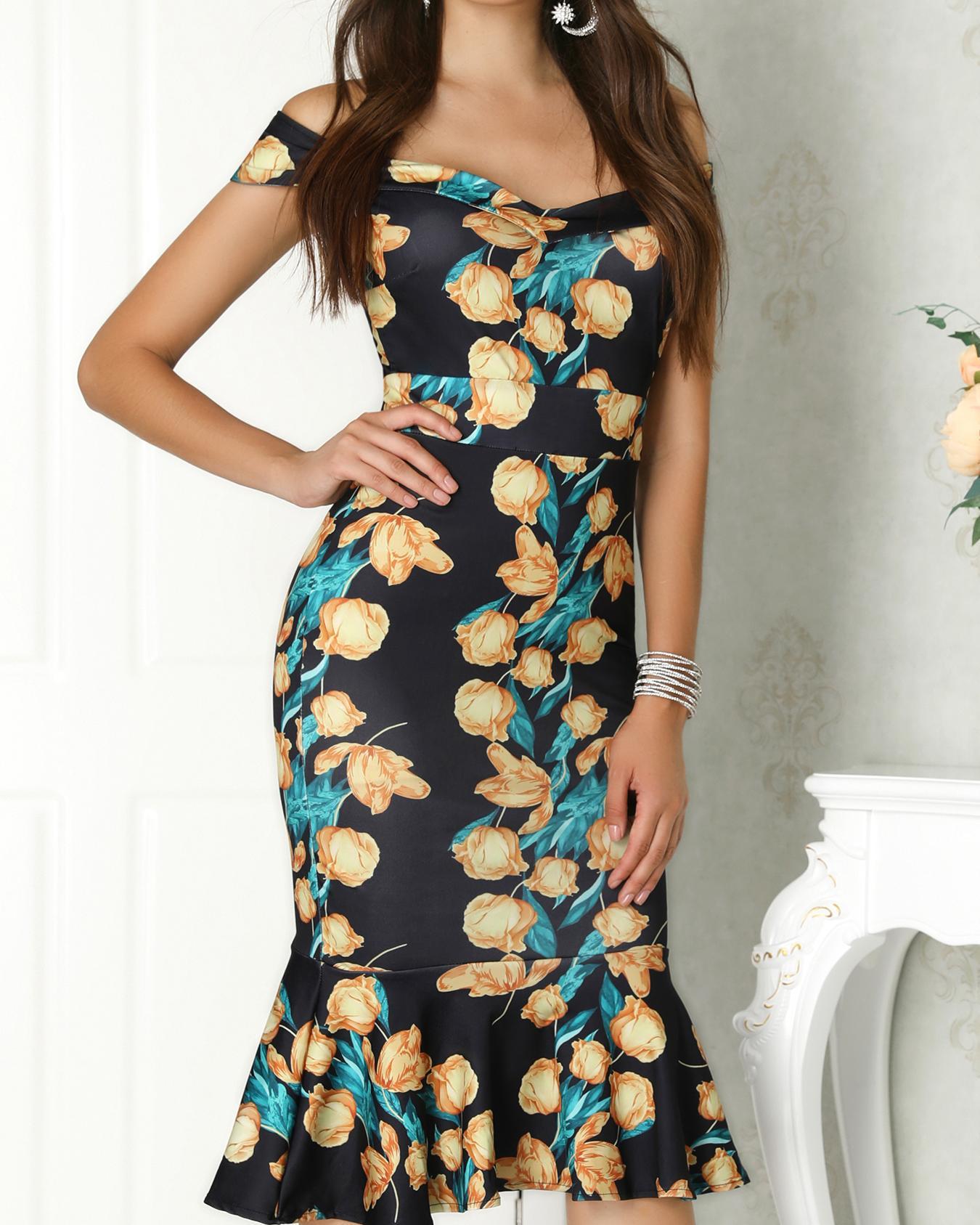 Off Shoulder Floral Print Fishtail Bodycon Dress