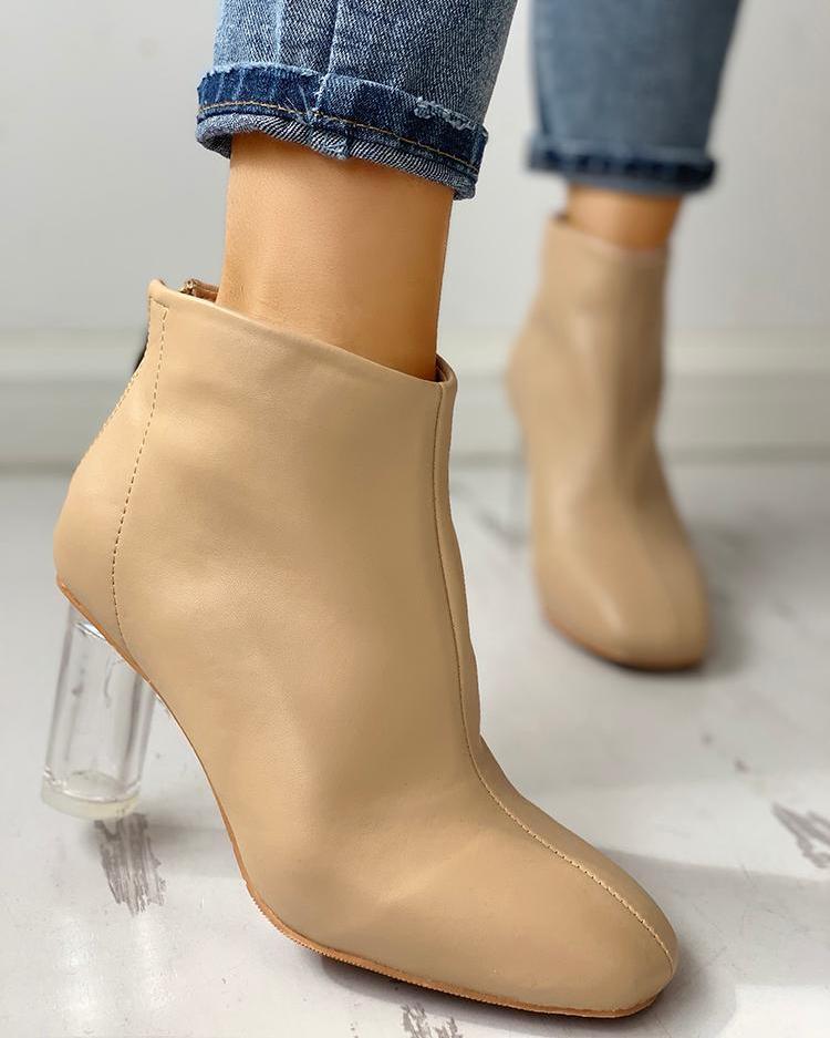 PU Zipper Up Back Transparent Chunky Heeled Boots