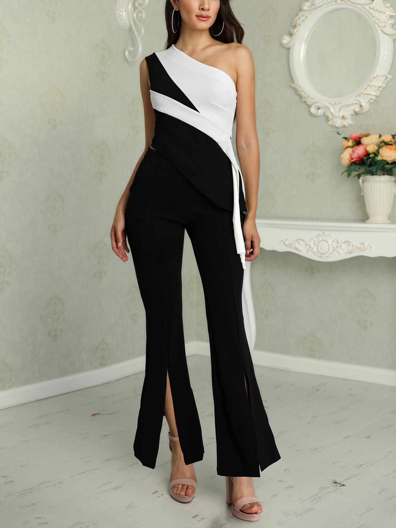 Contrast Color Skew Neck Irregular Top & Slit Pant Sets